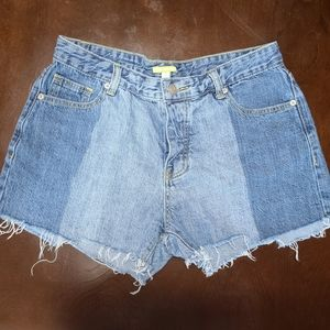 Distressed, cut off, button up, blue jean shorts